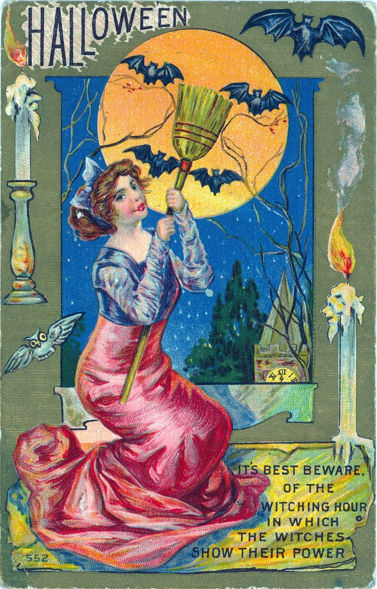 Victorian Card Halloween Greetings - http://retrographik.com/victorian-card-halloween-greetings/ - clip art, easter, halloween, scary, sexy, vintage, withces