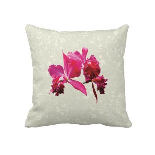 Magenta Orchids Throw Pillow