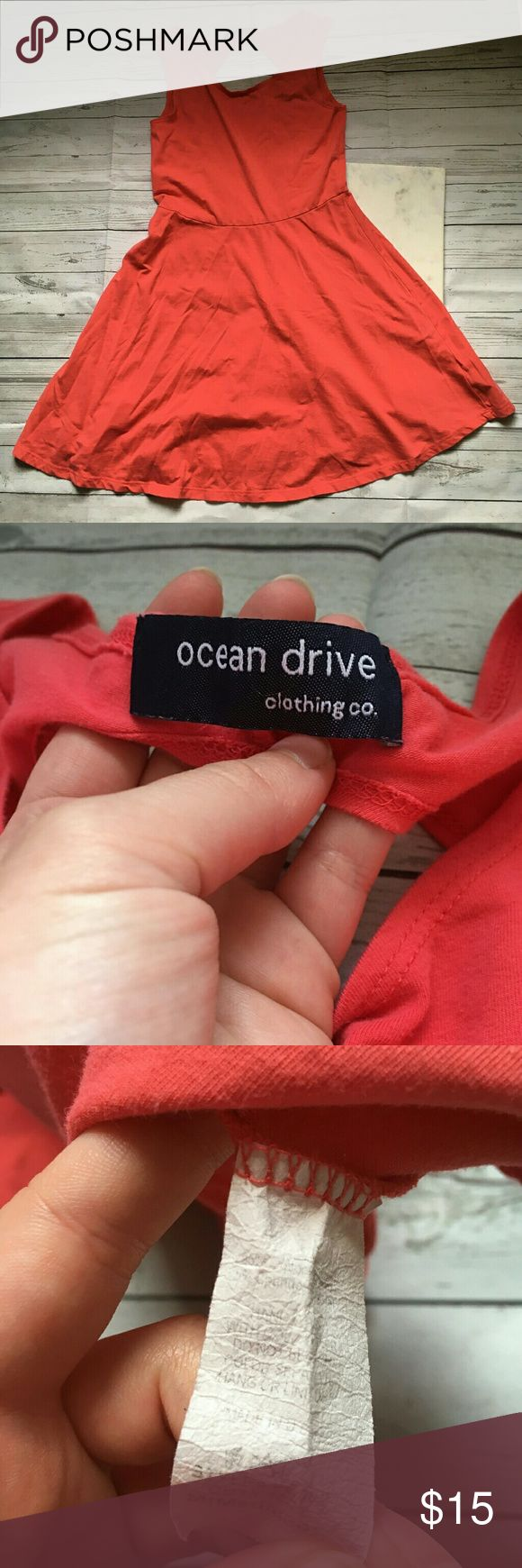 ocean drive womens medium coral sundress beachy gently used with no flaws great for the beach and boardwalk  armpit to armpit = 14.5 inches length = 30 inches Ocean Drive Dresses Mini