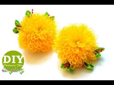 DIY Chrysanthemums kanzashi. Kanzashi flower tutorial. Scrunchy. Organza Flower. - YouTube