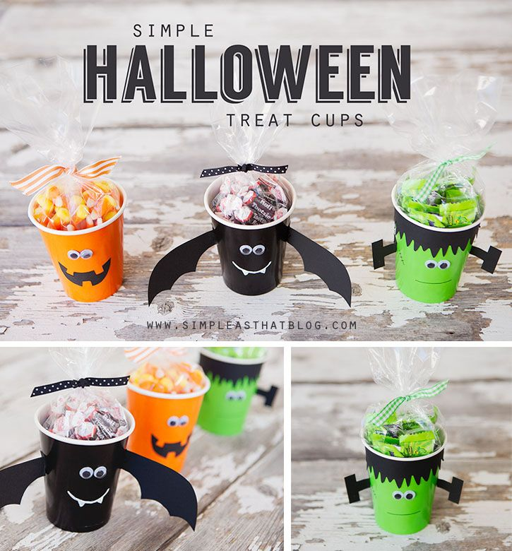 These simple Halloween treat cups are a great idea for party favours, classroom treats + double as a fun kids craft! The best part is they're quick + inexpensive. #halloween #treats #kidscraft