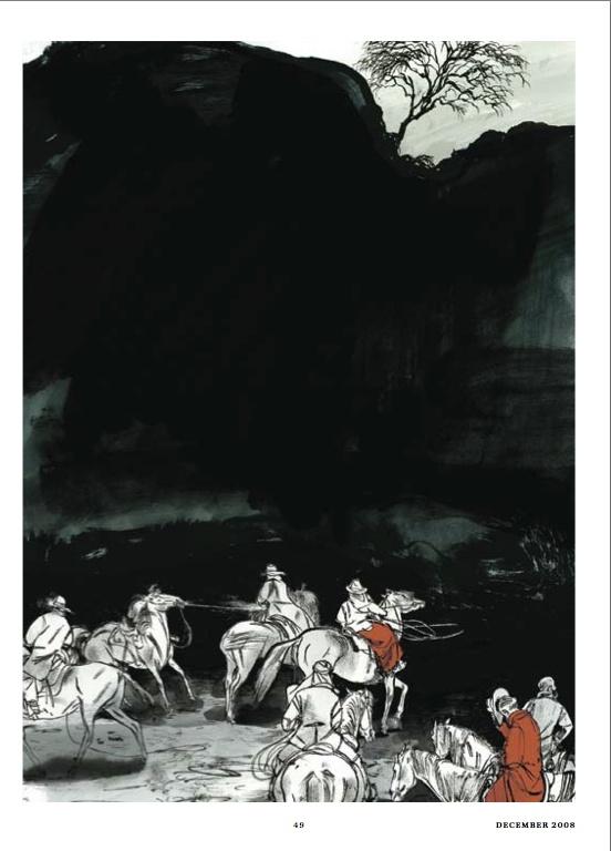 "Gold winner in #Illustrations. ""The Lynching of Louie Sam"" by Jillian Tamaki published in The #Walrus, 2008."