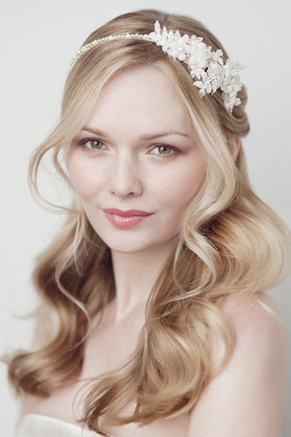 Perlas en tocado de novia