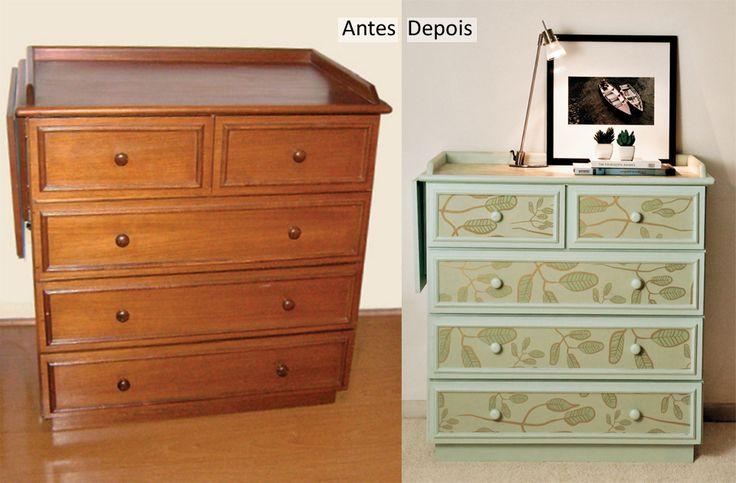 Antes e depois da cômoda da jornalista mineira Ana Bizzotto.