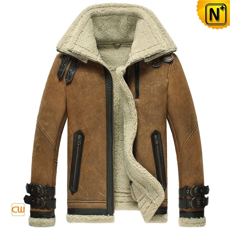 Shearling Leather Bomber Jacket for Men CW860216 $1595.89 - www.cwmalls.com Cool…