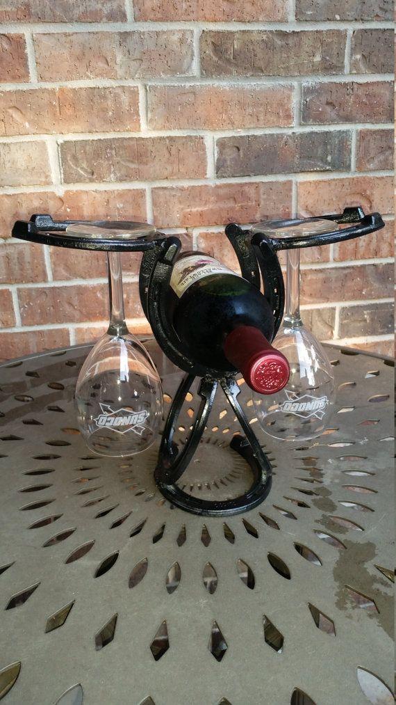 Horseshoe wine rack by 21CenturyIndustrial on Etsy