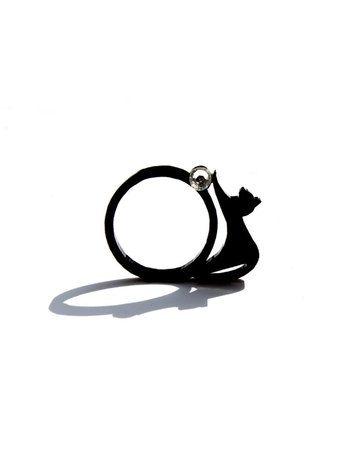 "Swarovski kristal ""CatWalk"" ring zwart. Love cats?"