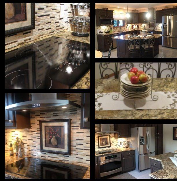 Granite Countertops Glass Tile Backsplash Modern Kitchen Update Stainless Appliances