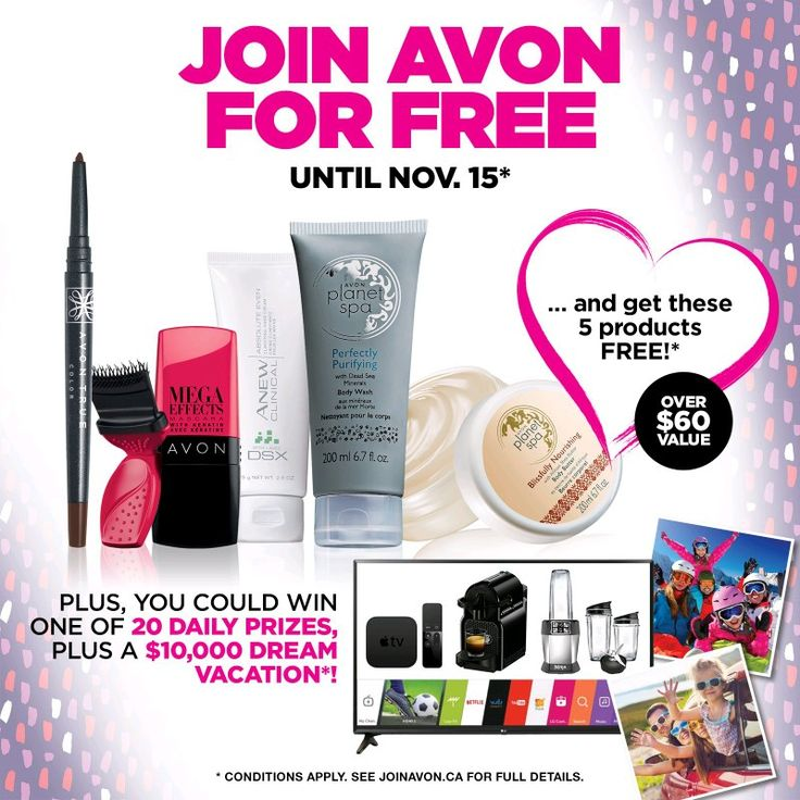 http://pages.avon.ca/joinavon?rep_account_id=0000198967 Did you know with Avon you can earn extra money, or have your own membership to receive a 25% discount when you shop, and have your order directly shipped to you, or become my customer!