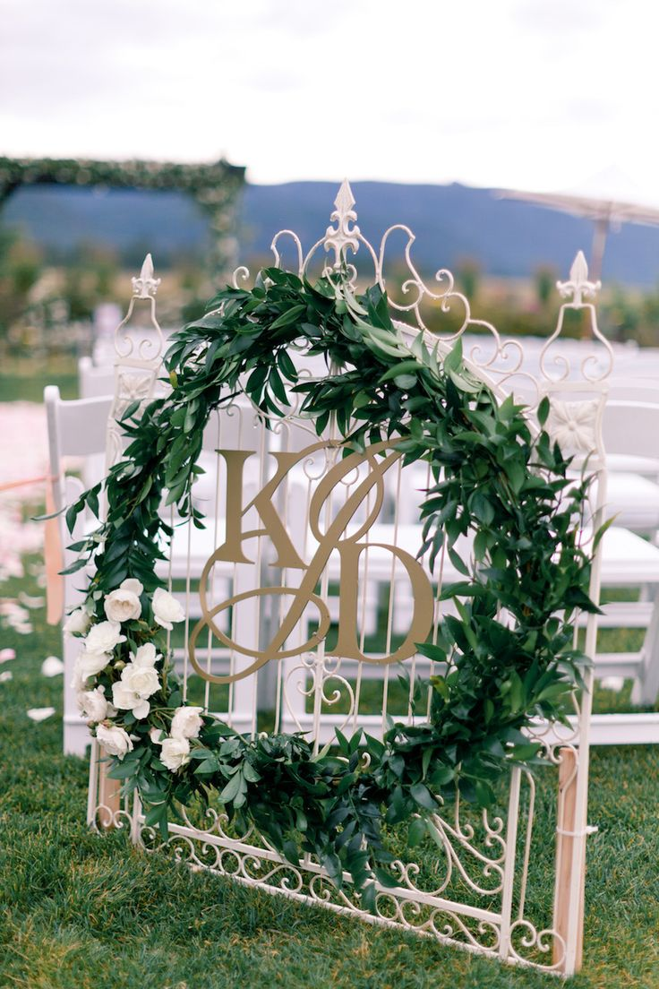 Monogram Garland Wreath by CoriCook.com - Photography: brumleyandwells.com: | A monogram theme wedding - 15 Ways to Use Monograms : https://www.fabmood.com/monogram-theme-wedding