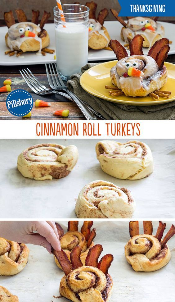 Your whole family will gobble these up! Start off your Thanksgiving morning on a delicious note with these super cute Cinnamon Roll Turkeys!
