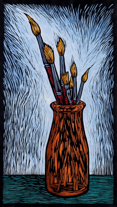 PAINT BRUSHES 35 X 19.5 CM  EDITION OF 50 HAND COLOURED LINOCUT ON HANDMADE JAPANESE PAPER $450