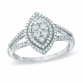 1/2 Ct.Diamond Double Frame Marquise Cluster Engagement Ring In 10K White Gold # Free Stud Earring by JewelryHub on Opensky