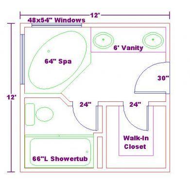 19 best master bathroom layouts images on pinterest for Bathroom designs 12x12