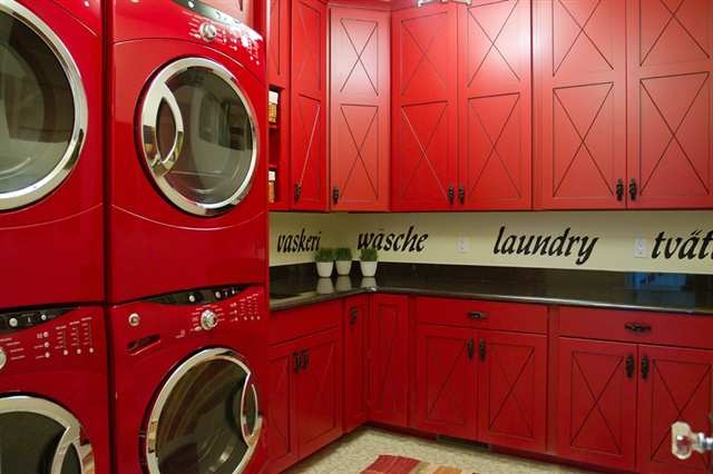 'laundry' written in different languages: Decor Ideas, Laundry Rooms Mud, Dreams Houses, Red Laundry Rooms, Cheer Laundry, Double Stacking, Houses Ideas, Rooms Ideas, Laundry Mudroom Lov