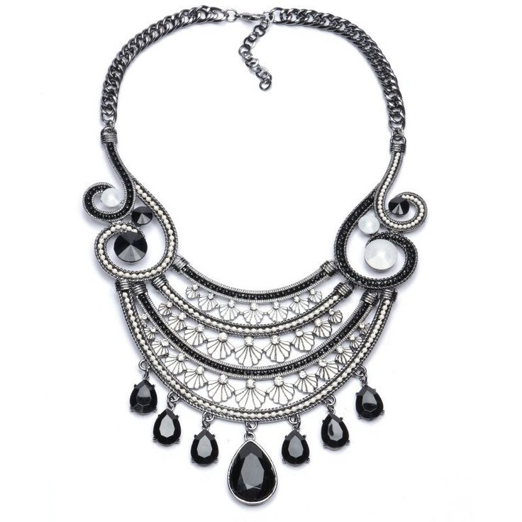Necklaces : Silver Plated Chain Black Water Drop Rhinestone