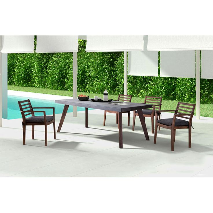 Industrial Outdoor 5-Piece Dining Set – Cement & Wood