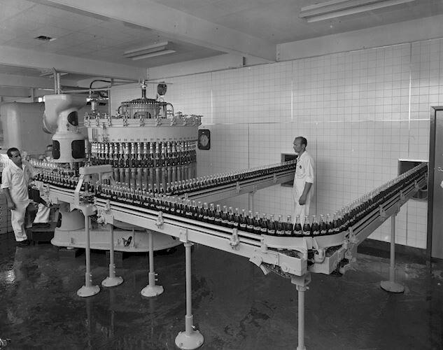Coca Cola, Production Line at Factory, Moorabbin, Victoria, 16 Jan 1960