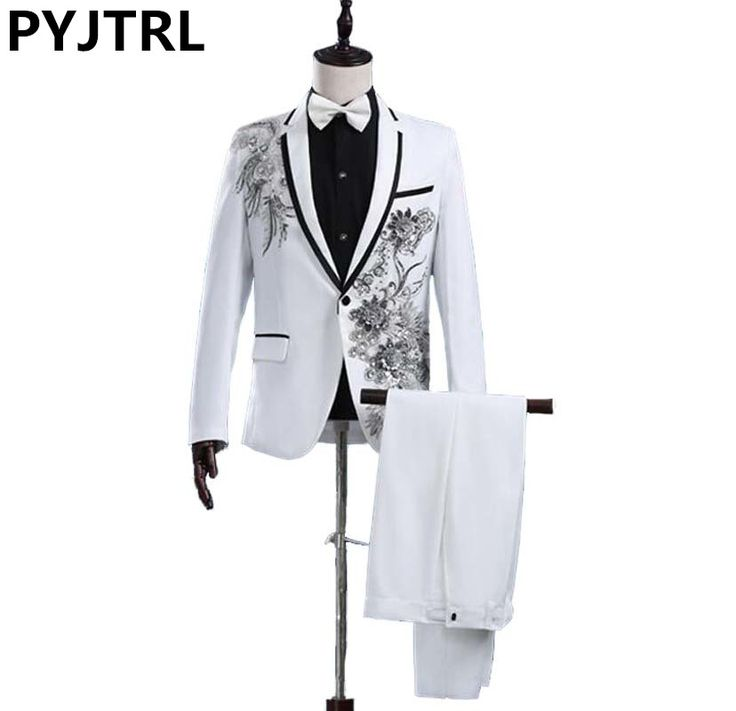 Jacket   Pants New White Paillette Flower Stage Show Chorus Man's Suit Moderator Clothing Mens Prom Suits * AliExpress Affiliate's buyable pin. Clicking on the VISIT button will lead you to find similar product on www.aliexpress.com #Men'sJackets