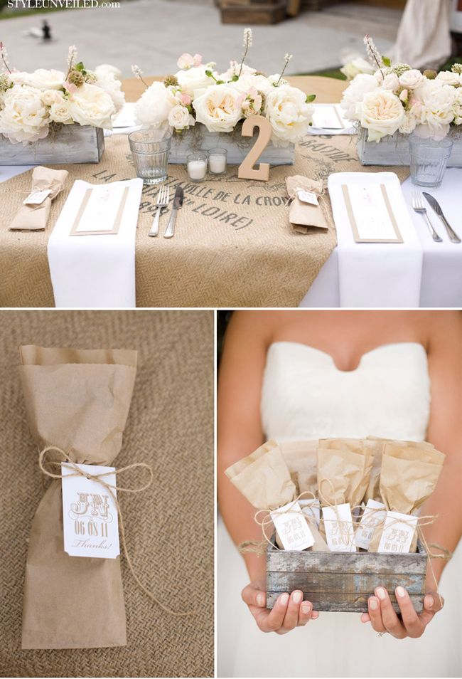 Table setting with burlap, wooden floral centerpieces, the feel of sitting around a kitchen table with your family. (Crooked Creek Ranch Wedding - Hey Gorgeous Events)