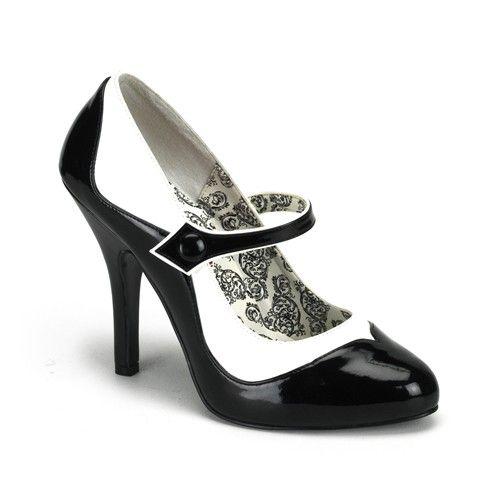 TEMPT-07, Mary Janes Mini-Plateau Pumps schwarz Lack/weiß BORDELLO - Burlesque Bordello Schuhe