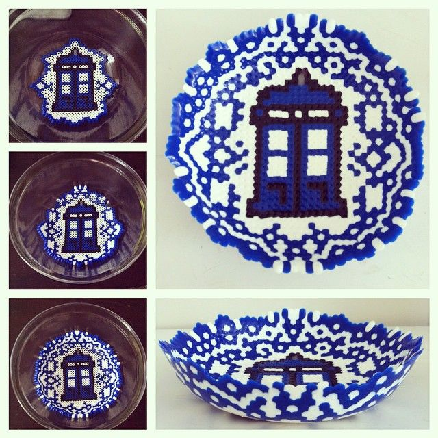 Doctor Who perler fuse bead bowl by phaellan