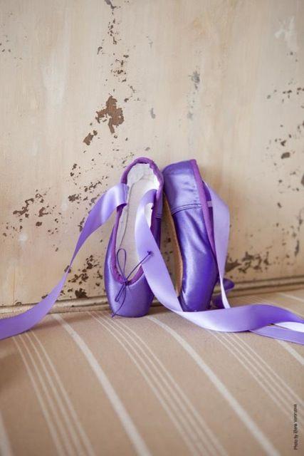 Purple pointe shoes