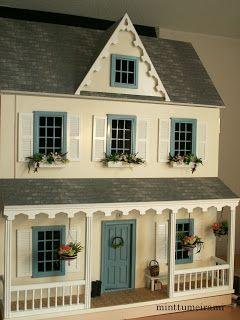 Vermont Farmhouse Junior Dollhouse with cadet blue windows & door--perfect doll house!!