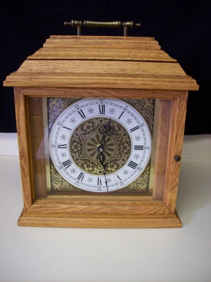 Vintage Wooden Antique Mantel Clock Battery Operated