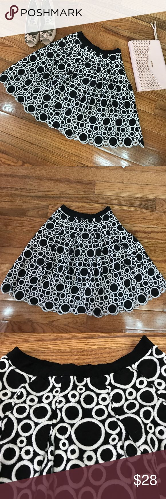 """Ann Taylor Circle Skirt sz 2 Ann Taylor Skirt Black with White Circles. Flirty and feminine and perfect for the summer. 100% Cotton.  Length is 18.5"""". Waist is 26"""" Ann Taylor Skirts Circle & Skater"""