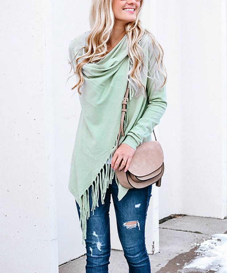 Take a look at this Sage Fringe Open Cardigan today!