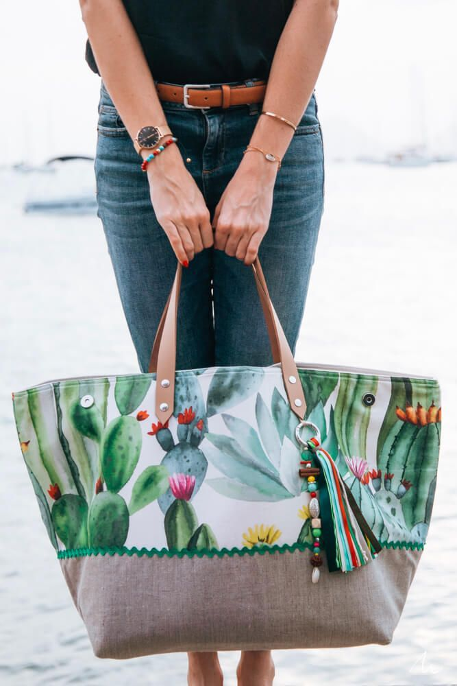 Grand sac de plage imprimés cactus haut de gamme et fait main I – Corinne Dovo