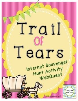 Students will use the website about the Trail of Tears to answer questions provided on the worksheets. Includes: - 2 page internet scavenger hunt - answer key. This internet scavenger hunt covers Georgia Performance Standards: SS4H6 The student will explain westward expansion of America between 1801 and 1861.