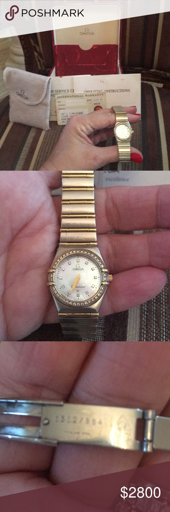 🌹Omega Constellation ladies watch 18 kt gold and stainless Steel Ladies OMEGA CONSTELLATION watch with Diamond and mother of pearl face. Mint Condition. Can have links added or removed for sizing by reputable jeweler. All original documentation and original box included. Box is a little beat up on outside but not inside which is funny because always  sat in drawer . Only serious offers please. Omega Jewelry