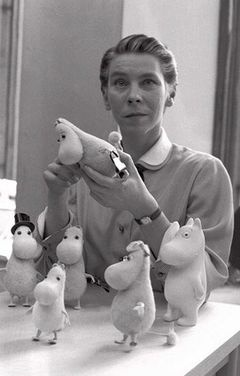 Tove Jansson and her Moomins in 1956