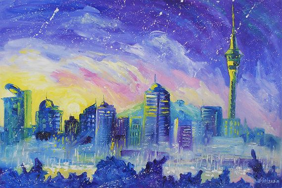 Auckland Painting - city art, purple painting, large painting, skyline, cityscape, New Zealand, Large original oil painting, seascape