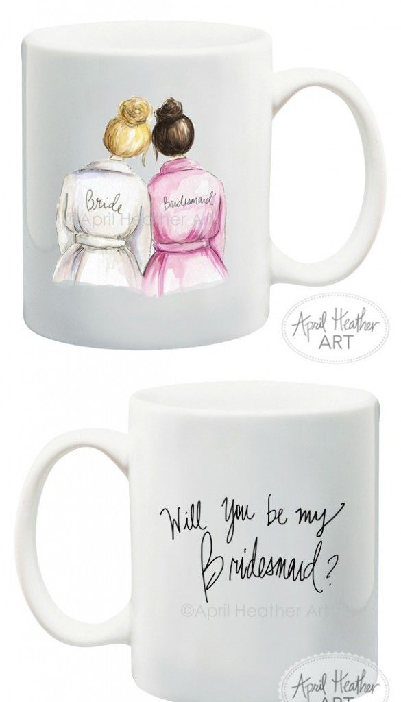 Will You Be my Bridesmaid Mugs by April Heather Art
