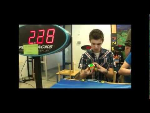 Rubik's Cube Established in 1980: This video shows the Rubik's Cube World Record. One fella does it with one hand only.