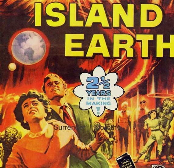 This Island Earth 1950s Sci Fi Horror Movie Poster Full Color Advertisement Lithograph To Frame Science Fiction