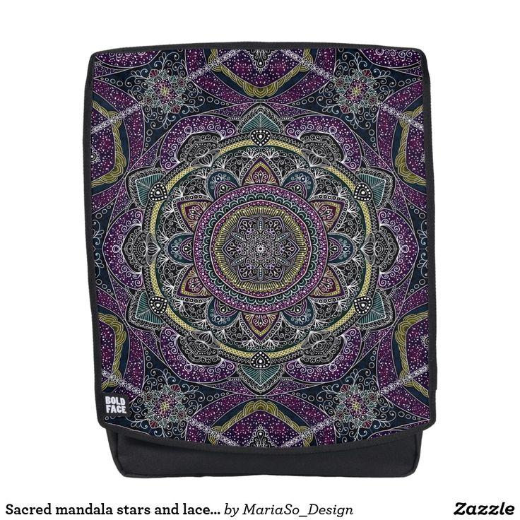 Sacred mandala stars and lace purple and black backpack