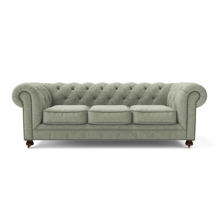 Диван Chesterfield Люкс трехместный серо-зеленый , ткань. Выгодная цена! - S&K Design