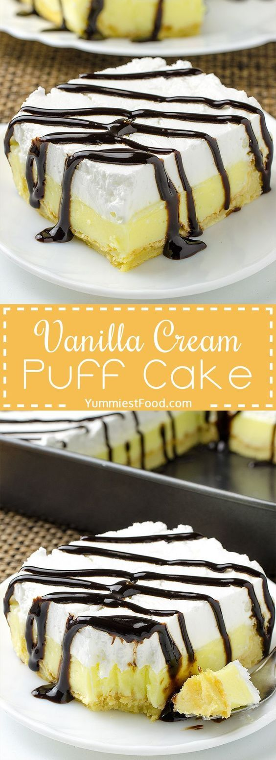 Vanilla Cream Puff Cake or Eclair Cake - so easy, quick and creamy! This Vanilla Cream Puff Cake or Eclair Cake is one of the easiest and tastiest desserts I have ever made! Perfect combination with vanilla and chocolate..