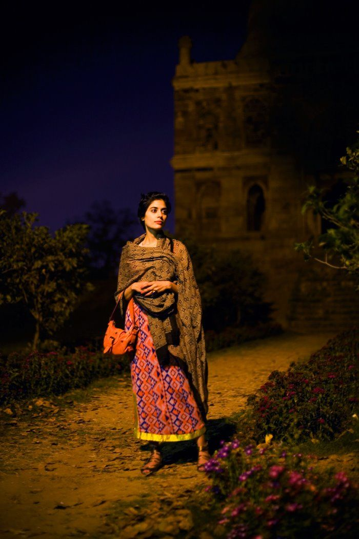 On the Street…..Early Evening, New Delhi « The Sartorialist...this shot though beautiful seems stage managed.. i live in Delhi and not many well heeled (as this lady obviously is) dress like that for a night stroll in the park. Its simply not safe beside parks ain't open late into the evening.