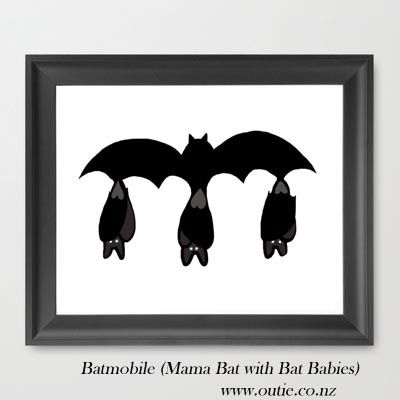 Batmobile Bat Babies - A4 Print via Outie NZ. Click on the image to see more!