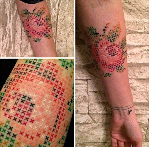 Artista turca cria tatuagens inspiradas no ponto cruz (sim, aquele bordado de vovó) | Virgula