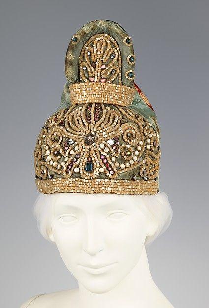 Headdress / Date: first quarter 19th century Culture: Russian Medium: silk, linen, glass, mother-of-pearl, metal