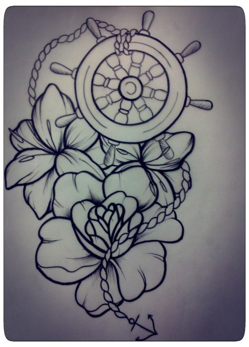 ship wheel #nautical #tattoo #flowers #lily #rose #tinysailor