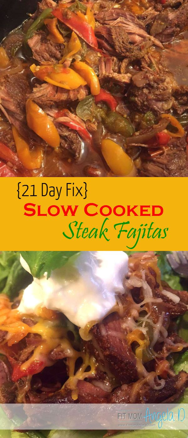 21 Day Fix and 21 Day Fix Extreme Approved Slow Cooked Steak Fajitas!  These are delicious and so SIMPLE!   Lots of flavor and husband approved!   Clean eats, Slow Cooker.  Crock pot meal.  FitMomAngelaD.com.