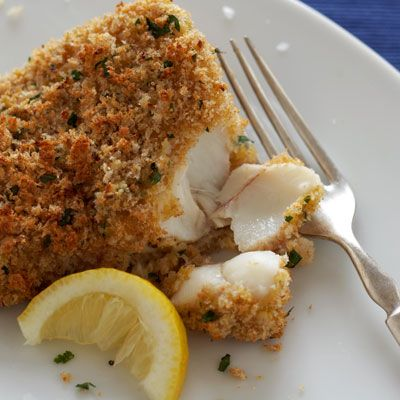 Crunchy Cod-- I'll have to tweak the recipe a bit, as it calls for 2 cups of butter (i'm sure it's a typo), but besides that, it sounds awesome!