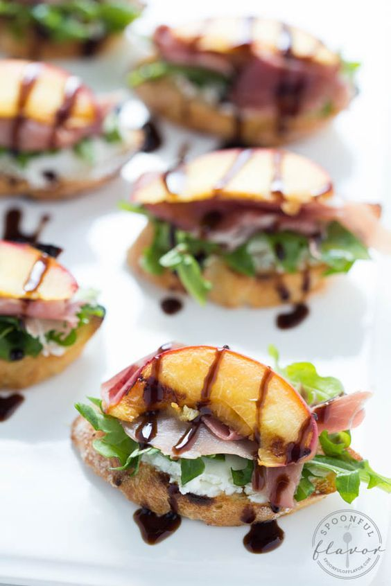 Grilled Peach Crostini with Arugula, Prosciutto and Goat Cheese is the ...